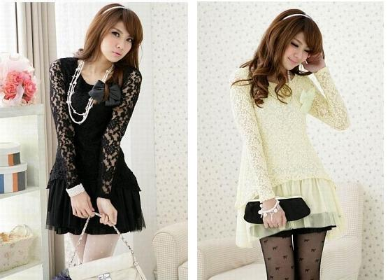 DRESS LACE KOREA YANG FEMININ