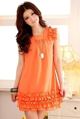 DRESS CANTIK KOREA WARNA ORANGE