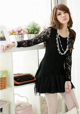 DRESS LACE KOREA LENGAN PANJANG