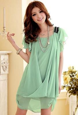 DRESS KOREA BAHAN CHIFFON WARNA HIJAU