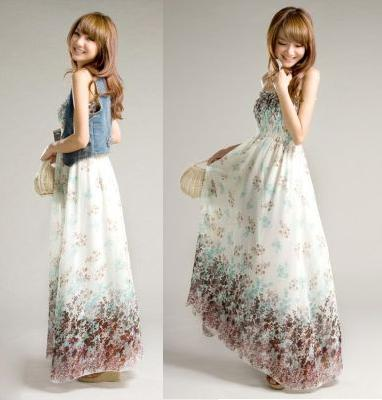 BAJU LONG DRESS KOREA BAHAN CHIFFON