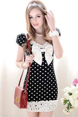 MODEL BAJU KOREA TERKINI - DRESS KOREA MOTIF POLKADOT