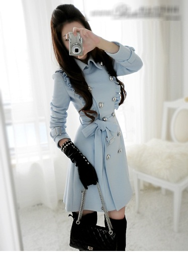 LONG COAT KOREA STYLE  - JN801 Blue(3)