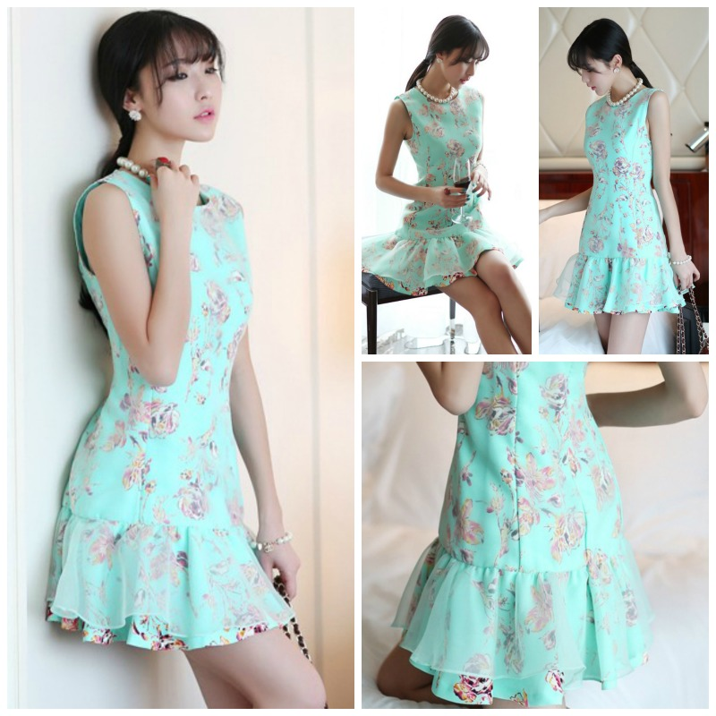 DRESS CANTIK KOREA MOTIF FLORAL
