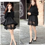 DRESS CANTIK – BLACK FAKE2PCS LACE DRESS SWEATER (JYS362399Black)