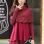 DRESS CANTIK – RED FAKE2PCS LACE DRESS SWEATER (JYS362399Red)