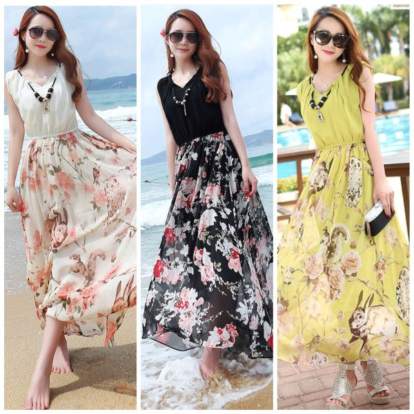LONG DRESS WANITA - LONG DRESS CHIFFON KOREA