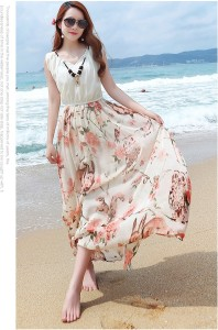 LONG DRESS CHIFFON – Beige Floral Maxi Dress (JYW2059Beige)