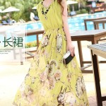 LONG DRESS CHIFFON – Yellow Floral Maxi Dress (JYW2059Yellow)