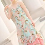 LONG DRESS CHIFFON KOREA – Blue Floral Long Dress (JYF7FFD)