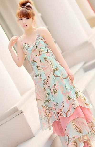 LONG DRESS WANITA KOREA - DRESS CHIFFON KOREA