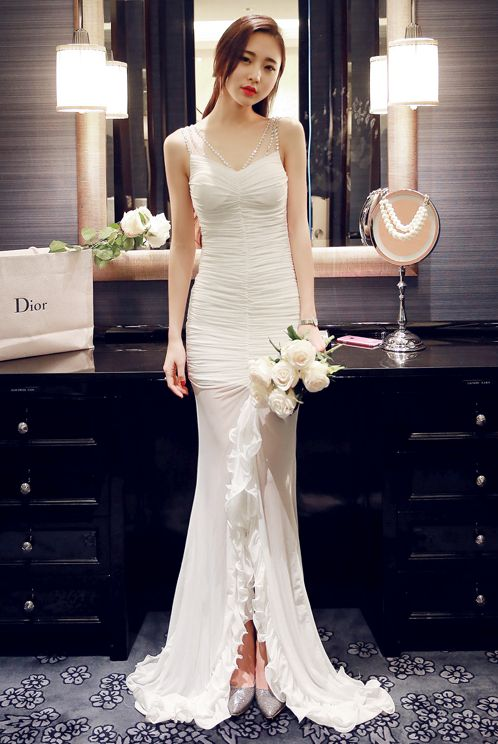 WHITE LONG DRESS - DRESS PESTA KOREA