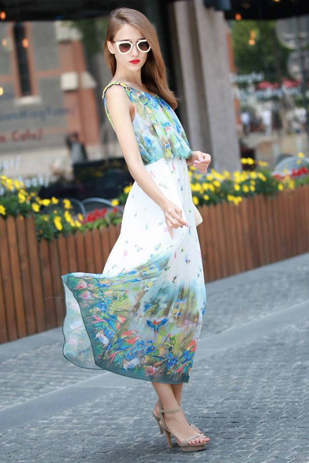 DRESS CANTIK KOREA - LONG DRESS CHIFFON