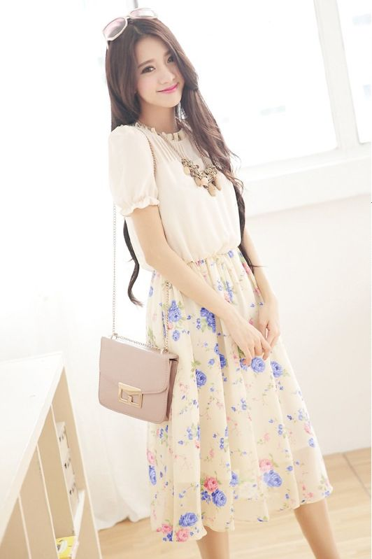 DRESS CANTIK KOREA - DRESS CHIFFON KOREA STYLE