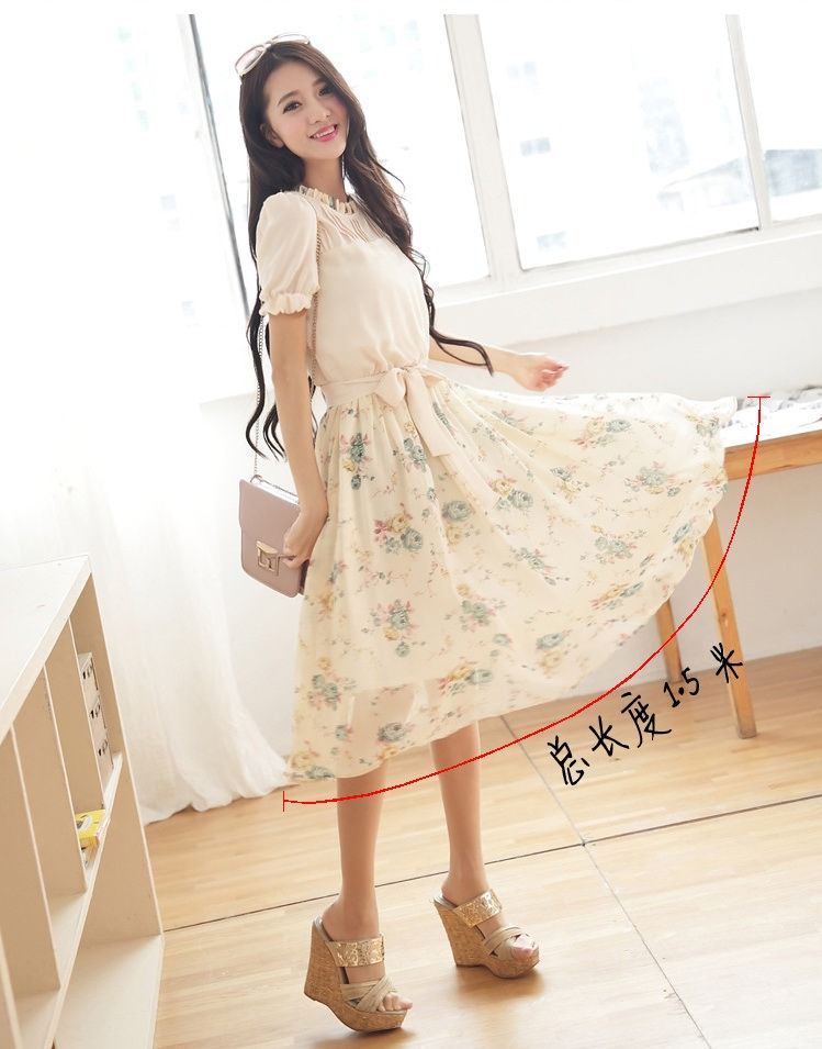 DRESS WANITA KOREA - DRESS CHIFFON KOREA