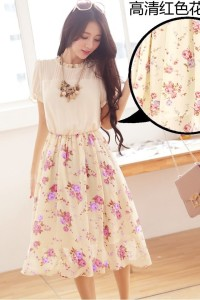DRESS CANTIK KOREA – FAKE 2Pcs Summer Dress (JYF24-1283RedPurple)