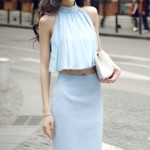 DRESS CANTIK KOREA – Blue 2Pcs Korean Dress (R80057Blue)