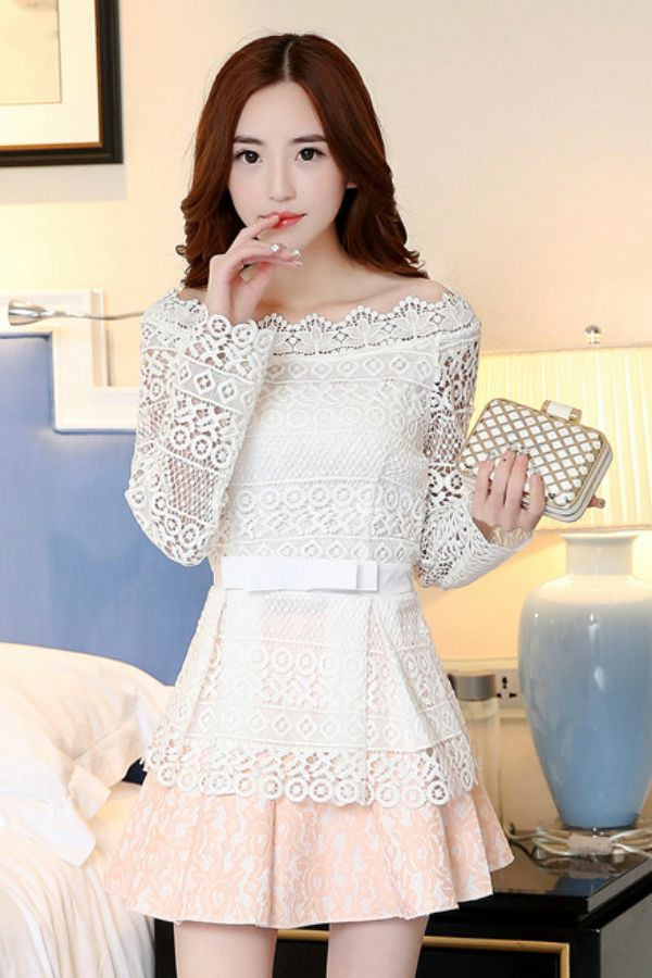 DRESS LACE KOREA - DRESS CANTIK WANITA KOREA