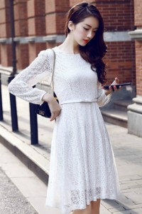 DRESS LACE KOREA -White Lace Korean Dress (R67143)