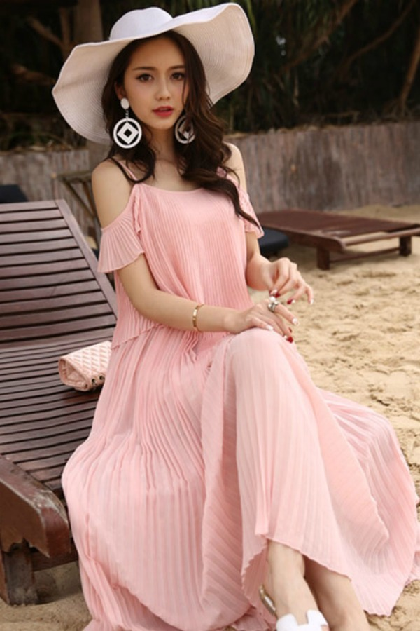 LONG DRESS CHIFFON KOREA DAN TOPI PANTAI LEBAR