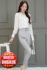 BUSANA KERJA WANITA IMPORT – 2Pcs White Blouse & Pants (JYW3192)