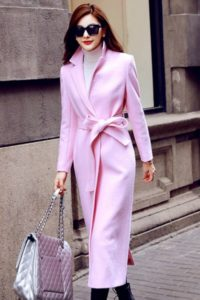 LONG COAT WANITA KOREA – PINK WOOLEN COAT (R67251Pink)