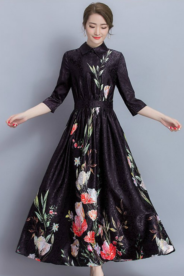 LONG DRESS WANITA - FLORAL MAXI DRESS - DRESS BUNGA