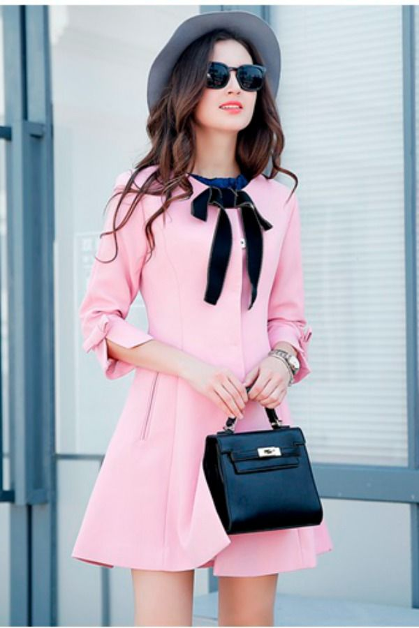 BLAZER IMPORT WANITA - LONG COAT PINK KOREA