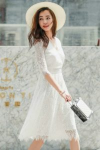 Dress Cantik Wanita Korea – WHITE LACE KOREAN DRESS (R80216White)