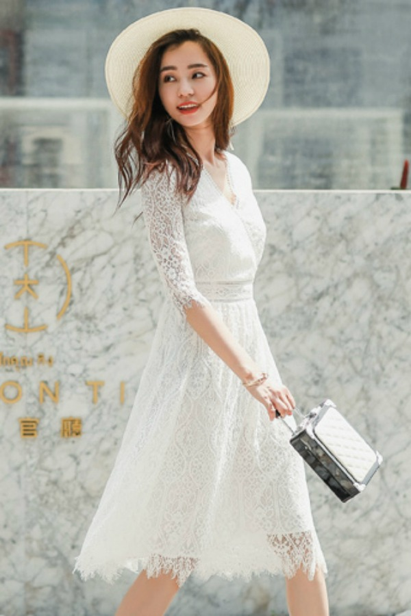 DRESS LACE IMPORT WANITA - BAJU WANITA KOREA