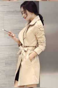 LONG COAT WANITA – Apricot Korean Trench Coat (JYX178832Apricot)