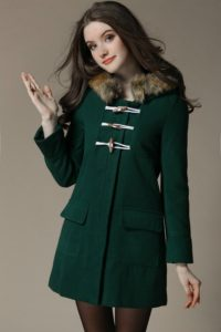 JAKET BULU IMPORT WANITA – Green Hoodie Fur Coat (JYW1710321Green)