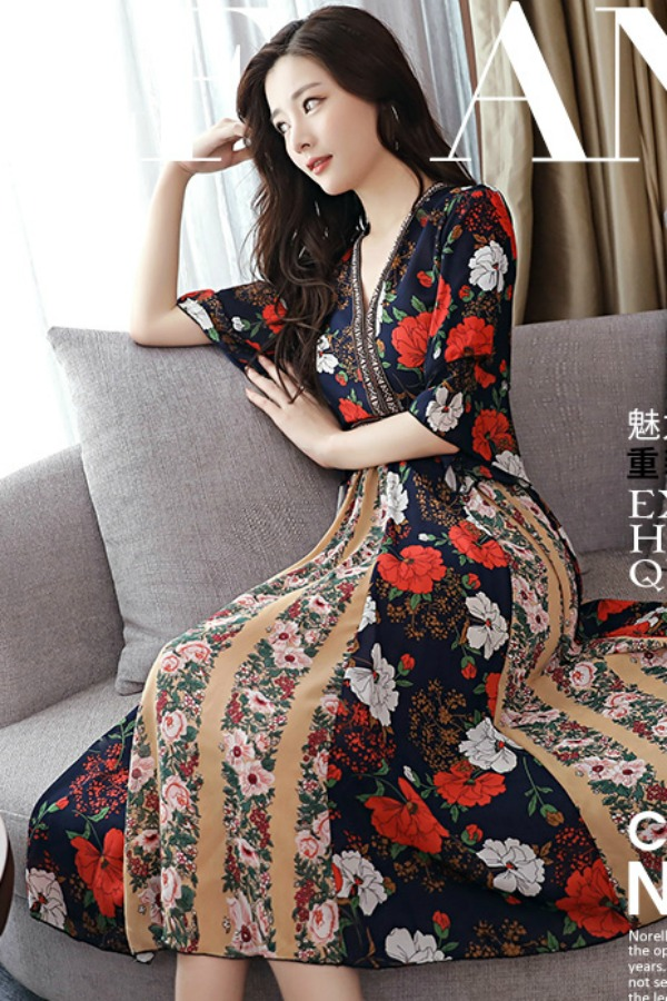 DRESS CHIFFON WANITA - FLORAL DRESS CANTIK - DRESS BUNGA