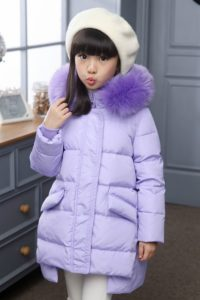 JAKET BULU ANAK – Fur Purple Down Coat for Children (JYKM8811 Purple)