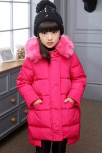 JAKET BULU ANAK – Fur Rose Down Coat for Children (JYKM8811 Rose)