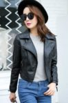 JAKET WANITA – Black PU Leather Short Jacker (JYW170515Black)