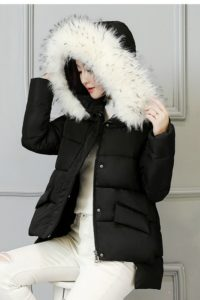 JAKET BULU IMPORT – Black Fur Down Coat (JYW86616 Black)
