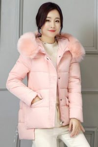 JAKET BULU IMPORT – Pink Fur Down Coat (JYW86616 Pink)