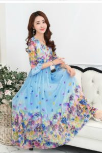 LONG DRESS CHIFFON CANTIK – Blue Floral Chiffon Maxi Dress (JYJ171213Blue)