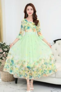 LONG DRESS CHIFFON CANTIK – Green Floral Chiffon Maxi Dress (JYJ171213 Green)