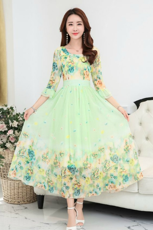 LONG DRESS CHIFFON WANITA - MAXI DRESS CHIFFON