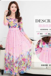 LONG DRESS CHIFFON CANTIK – Pink Floral Chiffon Maxi Dress (JYJ171213 Pink)