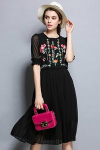 DRESS FLORAL EMBROIDERY – Premium Embroidery Chiffon Dress (JYZ176848  Black)