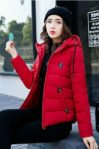 RED  HOODED DOWNCOAT –  Jaket Bulu Wanita (JYB17612Red)