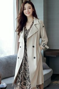 LONG COAT WANITA KOREA – Beige Windbreaker Coat (JYW3621Beige)