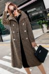 LONG COAT WANITA KOREA – Yellow Houndstooth Coat (JYY176945Yellow)