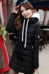 BLACK HOODED DOWN COAT – JAKET BULU KOREA(JYG000BF31 Black)