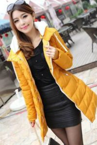 YELLOW HOODED DOWN COAT – JAKET BULU KOREA(JYG000BF31 Yellow)