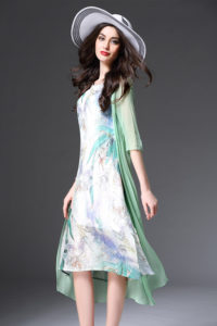 GREEN FAKE 2PCS DRESS – Dress cantik Chiffon Korea (JYY13276Green)