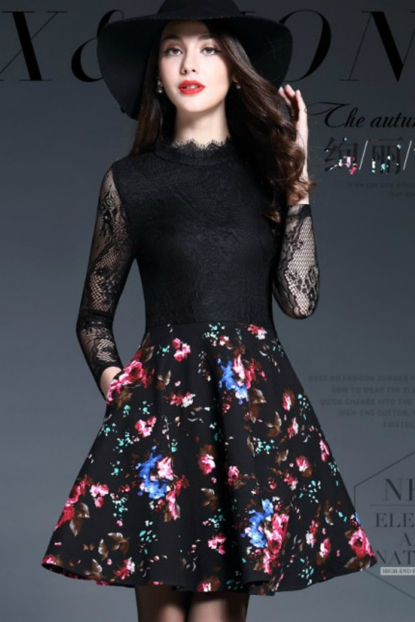 DRESS CANTIK KOREA STYLE - DRESS LACE CANTIK IMPORT